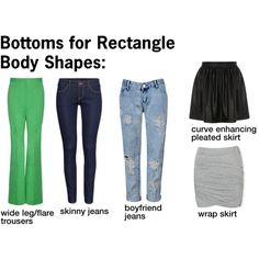 """""""Bottoms for Rectangle Body Shapes"""" by rayne-style on Polyvore"""