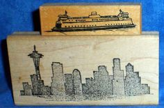 Scrapbooking Seattle Skyline- space needle- & Ferry Rubber Stamp Vintage  A4