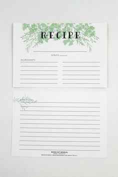 Recipe Card Set of 12 - These recipe cards are a great gift for your favorite foodie. Become a favorite as you give them as gifts for wedding showers, house warming gifts, or holiday gifts! $12