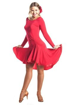 """The NEW """"Joanna Red"""" dance dress is a perfect outfit for any Latin or Ballroom dancer. Designed for a perfect fit, this style create graceful lines on the dance floor. The beautiful solar skirt and cr"""