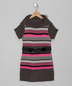 Perfect for cool-weather days, this striped sweater dress is just the thing tiny trendsetters need! Plus, the glossy belt, ribbed texture and cozy cowl neck really pull the look together.