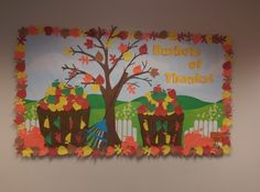 Thanksgiving bulletin we just did in lab! Reading Bulletin Boards, Preschool Bulletin Boards, Classroom Bulletin Boards, October Bulletin Boards, Bullentin Boards, Classroom Ideas, Thanksgiving Bulletin Boards, Thanksgiving Preschool, Autism Crafts