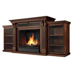 Real Flame Calie TV Stand w/ Ventless Electric Fireplace in Dark Espresso Media Fireplace, Built In Electric Fireplace, Fireplace Design, Fireplace Glass, Wooden Fireplace, Electric Fireplaces, Fireplace Ideas, Baby Driver, Espresso