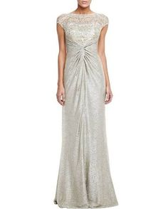 Women's Shimmery Lace Gown - David Meister - Gold
