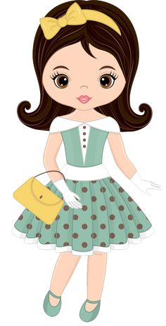Cute little girl in retro style Royalty Free Vector Image Cute Little Girls, Little Pony, Drawing Lessons For Kids, Happy Birthday Flower, Cute Images, Cute Dolls, Cute Illustration, Art Sketchbook, Fabric Painting