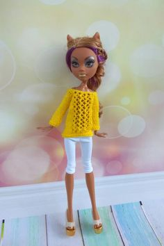 Monster High doll outfit. Hand-knitted bright yellow sweater | Etsy Monster High Doll Clothes, Monster High Dolls, White Leggings, Clothes Crafts, Yellow Sweater, Looking Gorgeous, Beautiful, Knitted Dolls, Custom Dolls
