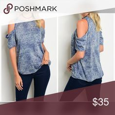 PREORDER Cold Shoulder soft knit top Pretty in blue with cold shoulders and front pocket! Tops