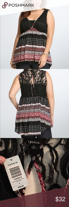 Multi Print Babydoll A black lace triangle bodice extends into a vivid multi-print hi-lo style. A semi-sheer black lace keyhole cutout on the back finishes off the look. torrid Tops Blouses