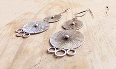 Sterling siver discs dangle earrings. Ancient by MarthaLjewellery