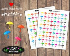 Umbrella Planner Stickers, Umbrella Printable Planner Stickers, Rainy Day Stickers, Print and Cut, Erin Condren, Life Planner, Functional by Ichiprintables
