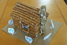Little House on the Prairie - Make a model of a cabin using pretzel rods.
