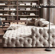 The tufted movie pit couch that could take up your entire living room, as far as you're concerned. The tufted movie pit couch that could take up your entire living room, as far as you're concerned. Pit Couch, Lounge Couch, Cozy Couch, Cuddle Couch, Comfy Sofa, Comfortable Couch, Sleeping Couch, Chaise Lounges, Floor Couch