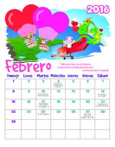 Calendario febrero 2016 para pared.