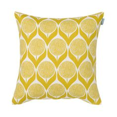 Find a fabulous array of Scandinavian fabric at Hus & Hem, perfect for curtains, blinds and light upholstery. Bring personality to your home with fabrics from Spira, Almedahls, Kauniste and more. Mustard Cushions, Yellow Cushions, Yellow Fabric, Mustard Yellow Curtains, Mustard Rug, Floral Fabric, Scandinavian Cushions, Scandinavian Design, Scandinavian Curtains
