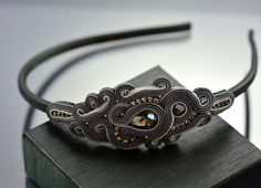 Soutache Headband, Gray Graphite Soutache Headband, Gray Soutache Headband, Soutache Hairband, hair accessory, OOAK