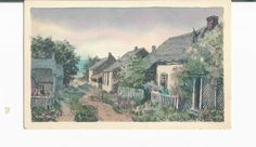A 1909 Beautiful Watercolor Postcard Titled A Sconset Street by Miss Lillian by COLLECTORSCENTER on Etsy