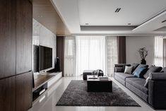 客廳 Lin residence on Behance Living Room Wall Units, Living Room Tv Unit Designs, Living Room Modern, Living Room Decor, Living Spaces, Family Room Walls, Luxury Apartments, Home Decor Furniture, Luxury Living