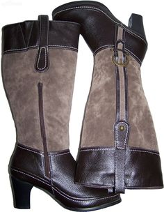Size 39 RIVERSOFT brown boots suede look western cowboy brass coloured buckles by sprocket2chain - $34.45