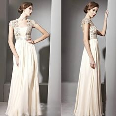 Couture Ivory Beaded Modern Vintage Wedding Bridal Evening Party Gowns Dresses SKU-122052