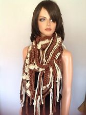 Shawl Scarf Hand Knit Fringes Designer Fashion Hip Chic Boho Extra Long Rustic