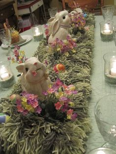 Easter Tablescaping / Centerpiece  Creative use of yarn