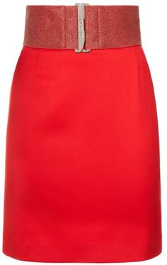 21b4471add3 A classic fitted skirt in striking rubine red virgin stretch wool. Crafted  to complement a tailored jacket yet versatile for less formal looks