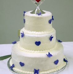 Purple Heart and Butterfly Wedding Cake (2nd view)