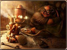 Steampunk Pinnochio and Geppetto
