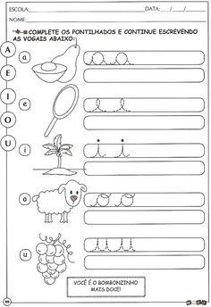 vogais Preschool Printables, Preschool Worksheets, Reading Comprehension Grade 1, Turtle Birthday, Tracing Worksheets, Reading Lessons, Color Activities, Home Schooling, Gabriel