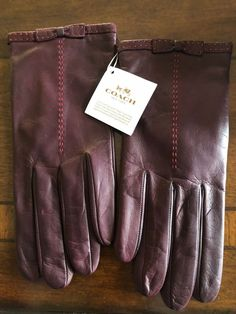 84586269a Coach Leather Bow Gloves with Silk Lining - Burgundy Size 7 Genuine Leather  NWT #fashion #clothing #shoes #accessories #womensaccessories  #glovesmittens ...