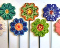 Ceramic Flowers- Planter decor- Garden decor- Ceramic- Spring- Planter art-Planter stake-Herb signs-Garden-Mums day-Office-Home-Summer - Hobbies paining body for kids and adult Clay Art Projects, Clay Crafts, Clay Flowers, Ceramic Flowers, Small Flowers, Stick Decor, Ceramica Artistica Ideas, Keramik Design, Decorative Planters