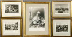 """4018 - Five 19th C. Book Plates Lot of five book plates, 19th century, matted and framed, 15"""" h x 19"""" w (largest). Provenance: From a Massachusetts estate. June Estate Auction 