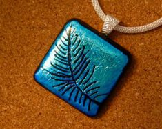 Dichroic Pendant - Fused Glass Pendant - Etched Glass Pendant - Fused Glass Jewelry - Dichroic Jewelry - Hand Etched Jewelry