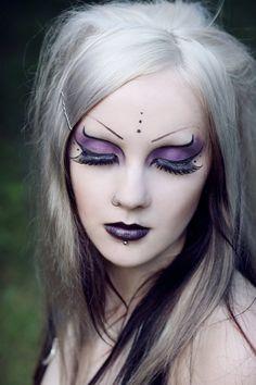 Pretty purple & black eyes, lips, lashes & rockin' white hair | Cyber Goth Makeup | NefruMerit.deviantart.com