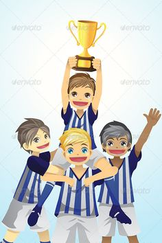 Sport Kids Lifting Trophy  #GraphicRiver         A vector illustration of a group of sporty kids lifting up trophy. Vector ilustration, zip archive contain eps 10 and high resolution jpeg.     Created: 4November13 GraphicsFilesIncluded: VectorEPS Layered: No MinimumAdobeCSVersion: CS Tags: achievement #award #boys #cartoon #celebrate #celebration #champion #children #competition #cup #drawing #excitement #football #friends #friendship #illustration #kids #lifestyle #male #people #soccer…