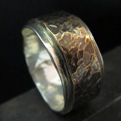 Men's rings: Hammered look Textured copper and fine silver Jewelry Rings, Jewelry Accessories, Jewelry Design, Jewlery, Wedding Men, Wedding Bands, Mode Masculine, Schmuck Design, Bracelets For Men