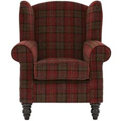 Orkney Tartan Patterned Accent Wing Chair (£359) ❤ liked on Polyvore featuring home, furniture, chairs, accent chairs, plaid chair, plaid furniture, colored furniture, colored chairs and plaid wingback chair