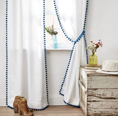 Update your Living Space with this easy DIY Pompom Curtains | Home Decor
