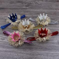 Розничная 5 цвета новорожденный мини чувствовал корона + блеск упругой повязка на голову для девочек аксессуары для волос ручной работы люкс детские повязки купить на AliExpress