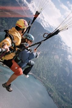 paragliding the Swiss Alps in Interlaken, Switzerland