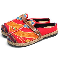 SOCOFY Soft Colorful Embroidered Buckle Folkways Backless Flat Shoes - US$29.99