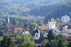 Baden AG/Switzerland - more can be found here: http://en.wikipedia.org/wiki/Baden,_Switzerland