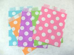 20 assorted colors polka dots flat paper bags by eastmeetswest (Craft Supplies & Tools, Scrapbooking Supplies, Scrapbooking Paper, party bag, paper bag, craft paper bag, brown craft bag, package, gift wrap, paper bag dollies, brown paper bag, polka dots paper bag, polka dots, polka dots bag, cute paper bag)