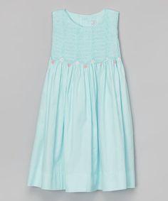 Love this Aqua Smocked Aqua Dress - Toddler & Girls by Fantaisie Kids on #zulily! #zulilyfinds