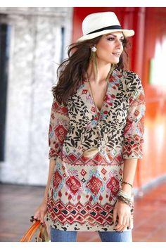 Aniston, dámská žoržetová tunika Trends, Elegant, Floral Tops, Kimono Top, Cover Up, Tunic Tops, Shirts, Womens Fashion, Outfits