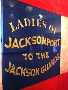 lettering on a confederate battle flag (!) The women of a town would sew the flag   carried by  the company of soldiers from their town .