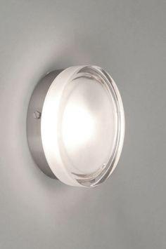 Plafondlamp 53827 modern retro glas helder glas mat glas staal rvs rond