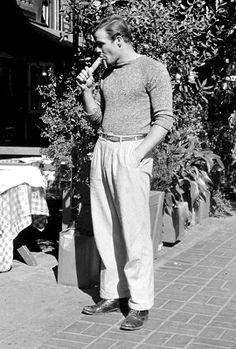 Marlon Brando photographed by Edward Clark, 1949.                                                                                                                                                                                 More