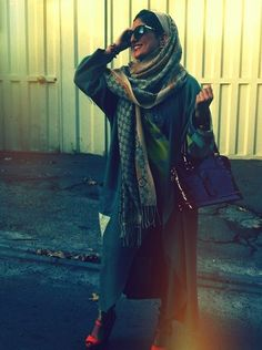 "Scarf - check. Long sweater - check. Heels - Check. My style to a ""t""!"