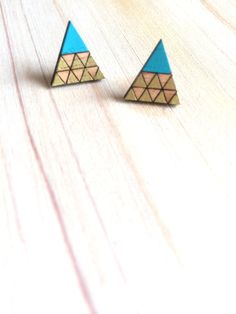 Hand Painted Laser Cut Wood Geometric Triangle by CirkusCharm